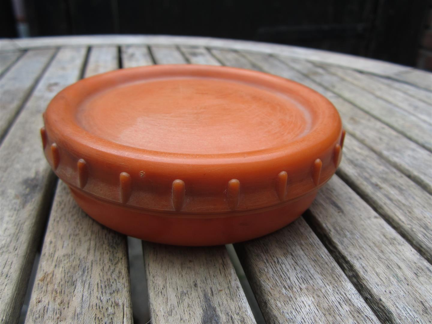 WW2 WH Orange Bakelite Butterdish